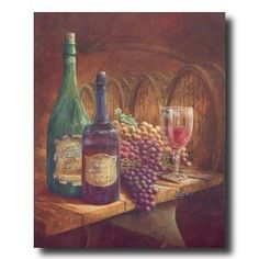 Grapes And Wine Kitchen Tuscan Contemporary Picture Art Print