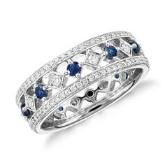 Gala Sapphire and Diamond Eternity Ring in 18k White Gold - instead of sapphires, have emeralds in its place.