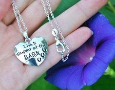Charm Necklace - .925 Sterling Silver Chain - Horse Life is Simpler at the Barn Pendant - Pony Lover Cowgirl Gift