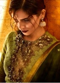 Ceremonial Green Net Pant Style Salwar Suit