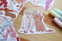 Chicks with dogs 4 illustration stickers set by frannerd on Etsy