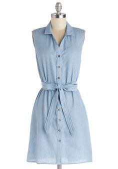 I'm So Gladsome Dress. You couldn't be more pleased with an ensemble that starts with this sleeveless shirt dress! #blue #modcloth