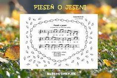 Pieseň o jeseni - Nasedeticky. Letter Board, Children, Kids, Poems, Preschool, Place Card Holders, Journal, Education, Music