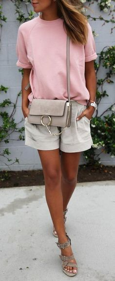 cute casual outfit: top bag shorts