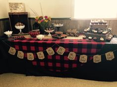 We could add a banner to frint of table Lumberjack Baby Shower, Baby Boy, Buffalo Plaid Woodsy Baby Showers, Camping Baby Showers, 2nd Baby Showers, Baby Shower Niño, Shower Bebe, Boy Baby Shower Themes, Baby Shower Cards, Baby Shower Printables, Baby Shower Decorations