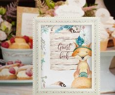 Guest Book Sign Baby Shower Fox Woodland Decor Boho Baby