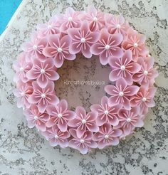 Origami Paper Flower Pink Wreath / wedding by kreationsbykia