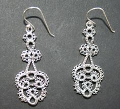 Tatted Look Chandelier earrings..in silver $30.60 or bronze $18.80.. 40 mm x18 mm