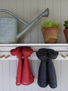 Gumboot Shelf - Our Kitchen Garden Organisation Hacks, Home Organization, Organizing, Boot Storage, Outdoor Storage, Garden Shelves, Back Doors, House And Home Magazine, Getting Organized