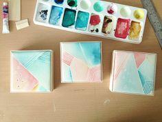 Watercolour Art Block Set - Original painting, geometric pattern, blue, pink, orange, set of 3