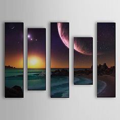 Hand Painted Oil Painting Landscape Sea Set of 5 with Stretched Frame 1307-LS0112 – USD $ 279.99