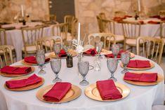 Grey Linen, Burgundy Napkins P. Tree Lighting, Twinkle Lights, Wedding Venues, Napkins, Table Settings, Burgundy, Table Decorations, Country, Grey