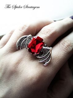 Gothic bat winged ring 'Purple/Red/Black Bats' by SpiderStratagem, €16.00