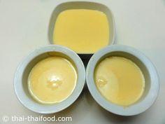 ใส่ส่วนผสมคัสตาร์ด ลงในพิมพ์ Custard, Caramel, Pudding, Breakfast, Food, Sticky Toffee, Morning Coffee, Cream, Candy