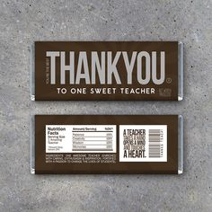 THANK YOU Teacher Appreciation Candy Bar Wrapper. Great last minute Teacher Appreciation Day gift or an end of school year thank you gift. Download and print instantly. By Studio120Underground, $5.