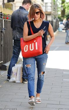 Peachy: Caroline Flack once again displayed her new ombre tinted locks during a day out in London on Wednesday Caroline Flack Hair, Caroline Flack Style, Hairdos, Hairstyles, Bob Hairs, Birkenstocks, Tv Presenters, Work Looks, Ripped Denim