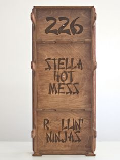 #Roller #Derby Gear Rack - Obrary Personalized with the skater's number, name and team.  Finish is stained.