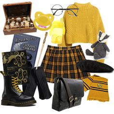 Outfit Inspiration: Little space hufflepuff - Hogwarts Harry Potter Mode, Harry Potter Style, Harry Potter Outfits, Fandom Outfits, Harry Potter Kleidung, Ddlg Outfits, Look Fashion, Fashion Outfits, Character Inspired Outfits
