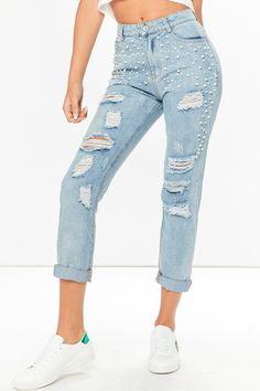 Kaia Pearl Embellished Ripped Light Denim Jeans