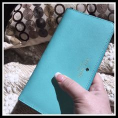 KATE SPADE MIKAS POND LACEY WALLET Color is Fresh Air, a lovely light Aqua color, and perfect for Spring/Summer.  See dimensions and features in pic#4. Stock photos courtesy of KSNY.COM.  No trades or holds.  NWT kate spade Bags Wallets