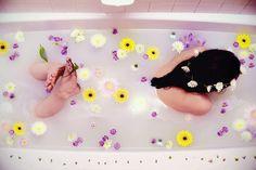 flower milk bath photoshoot idea