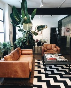 Beautiful black, white and copper mid century modern living room