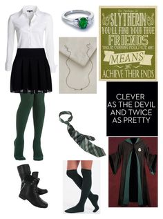 """Hogwarts Draco Malfoy Serpent Love"" by quicksilver15 ❤ liked on Polyvore featuring Blue Nile, NIC+ZOE, DKNY, Hush Puppies and Workhorse"