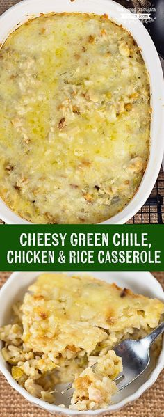 This spicy, hearty and Cheesy Green Chile, Chicken and Rice Casserole will definitely keep you warm and full in the upcoming winter months! Over Chicken Dishes) Tex Mex, Thanksgiving Casserole, Great Recipes, Favorite Recipes, Popular Recipes, Delicious Recipes, Healthy Recipes, My Burger, Comfort Food