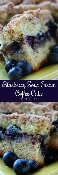 Blueberry Sour Cream Coffee Cake ~ This blueberry sour cream coffee cake is delicious. It is also amazing served warm and smothered in butter.