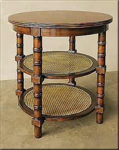 """Rare Collections (Bossa Nova) 23131-340  Round End Table 28"""" Diameter 28"""" Tall.  Made from Alder Solids with Cherry Veneers. Castagno finish with Cane Weave Bottom.  Curtain Call Creations"""