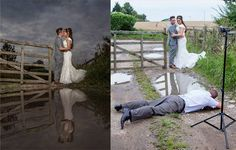 You know you're committed to your craft as a wedding photographer when you find yourself doing these things for the perfect reflection portrait of the brid