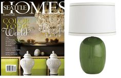 Kelly Green Lamp Featured By Seattle Homes Magazine Courtesy of InStyle-Decor.com Beverly Hills Inspiring & supporting Hollywood interior design professionals and fans, sharing beautiful luxe home decor inspirations, trending 1st in Hollywood Repin, Share & Enjoy