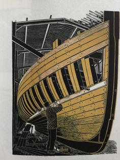This Lino-cut by Jamie Dodds shows The Pioneer under construction.
