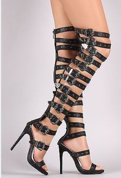 Strappy Thigh High Gladiator Heels Over the Knee Boots Open Toe Sandals - Black Thigh High Gladiator Heels, Thigh High Boots Heels, Knee Boots, Gladiator Boots, Open Toe Boots, Open Toe Sandals, Steel Toe Cowboy Boots, Super High Heels, Womens High Heels