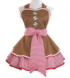 Christmas Apron Gingerbread Men Gingerbread by WellLaDiDaAprons