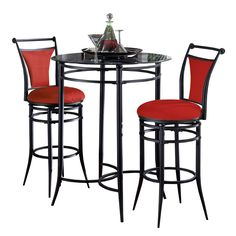 The Cierra 3-piece Flame Bistro Set is contemporary, stylish and versatile. Available in black metal with a glass top and luscious red faux suede upholstery, this is the perfect bistro set for a casual yet exceptionally posh touch.