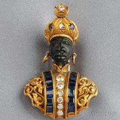 18kt Gold Gem-set Blackamoor Brooch, Nardi, wearing an elaborate vest with full-cut diamonds and channel-set sapphires, and sapphire and diamond turban, lg. 1 1/2 in., signed G. Nardi.