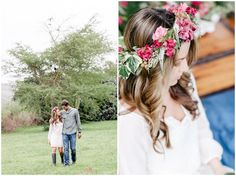 www.vanillaphotography.co.za - Styled engagement shoot, flower crown, gumboots, couple