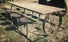 "10'x44"" Rustic picnic table. Antique tractor seats and wagon wheels. Will make to order. 417.684.7202 @bent_broke"