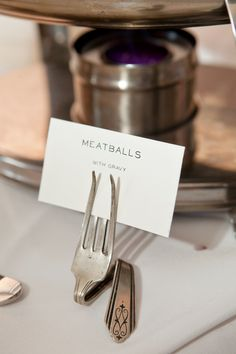 Our DIY Food Label Holders. Meatballs! Labels could look like business cards.