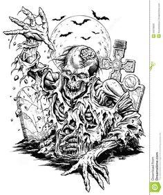 zombie-comic-line-art-isolated-vector-34378929.jpg (1087×1300)