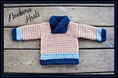 crochet pattern for baby boy or girls textured shawl collar sweater.