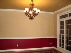 red and tan walls. Faux on Walls with Red Below Chair Rail tan on the walls and a goldish color on the Ceiling Black Dining Room Chairs, Farmhouse Table Chairs, Dining Room Walls, Office Chairs, Condo Living Room, Living Room Paint, Living Room Decor, Burgundy Walls, Burgundy Living Room