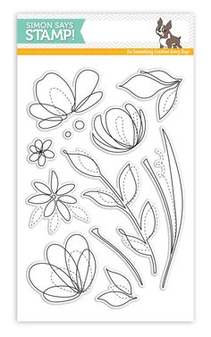 Simon Says Stamp clear stamps are high quality photopolymer and made in the USA. The stamp set measures 4 inches x 5 inches. This stamp coordinates with the Floral Shapes wafer die Flower Stamp, Flower Cards, Journaling, Bible Doodling, Flower Doodles, Card Making Techniques, Simon Says Stamp, Digi Stamps, Custom Cards