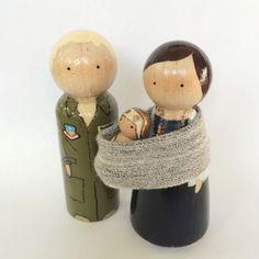 Adorable custom Painted Peg Doll Family #Babywearing