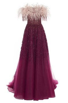 Pamella Roland Feather And Sequin-Embellished Tulle Gown Organza Dress, Strapless Gown, Crepe Dress, Embellished Gown, Sequin Gown, Evening Dresses, Prom Dresses, Formal Dresses, Elegant Dresses