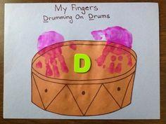 Tot School, Letter D, Drumming on Drums, Handprint Activity