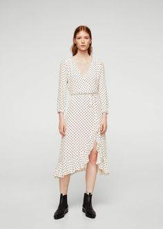 Wrap polka-dot dress - Woman | MANGO United Arab Emirates