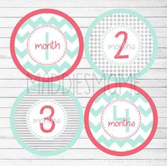 These Monthly Stickers are so precious! Such a unique way to capture your babies growth through their first year!    12 stickers printed on a 4 round
