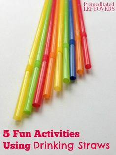 Keep the kids entertained this summer with these 5 Fun Activities Using Drinking Straws. Includes game ideas for kids and easy party activities for a group. - Education and lifestyle Party Activities, Indoor Activities, Craft Activities For Kids, Summer Activities, Toddler Activities, Projects For Kids, Games For Kids, Crafts For Kids, Straw Activities